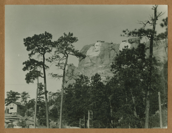 Mt. Rushmore under construction in the Black Hills of South Dakota.