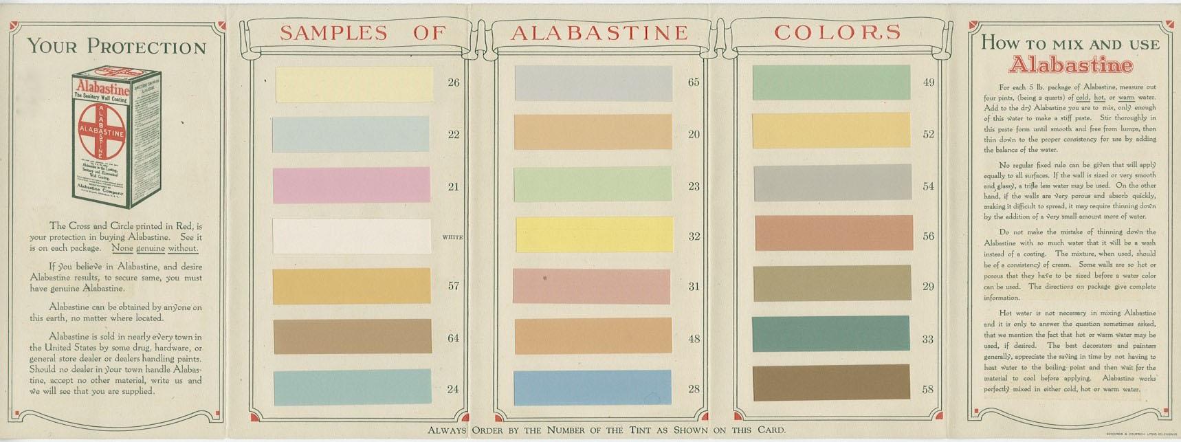 Alabastine color sample brochure, 1925