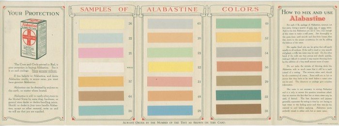 Alabastine color sample brochure, 1925