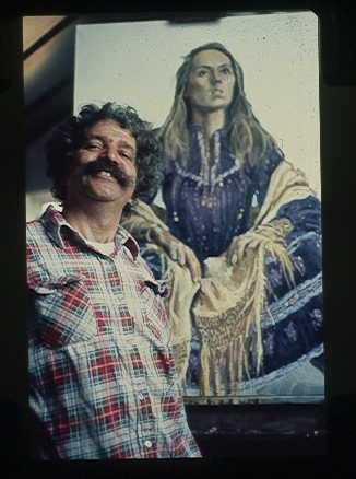 Mike McDonnell with portrait of young woman.