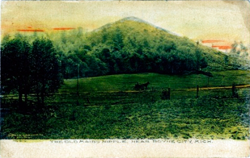 Postcard. Old Maid's Nipple near Boyne City, Mich.