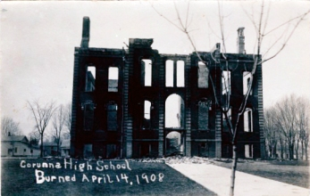 Postcard. Corunna High School burned April 14, 1908