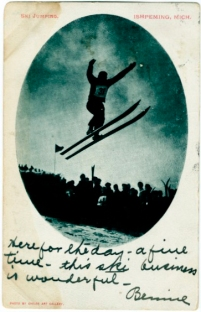 Postcard. Ishpeming Ski Jumping, 1907