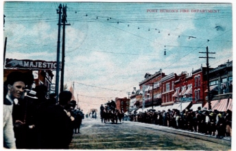 Postcard. Port Huron Fire Department parade, 1910