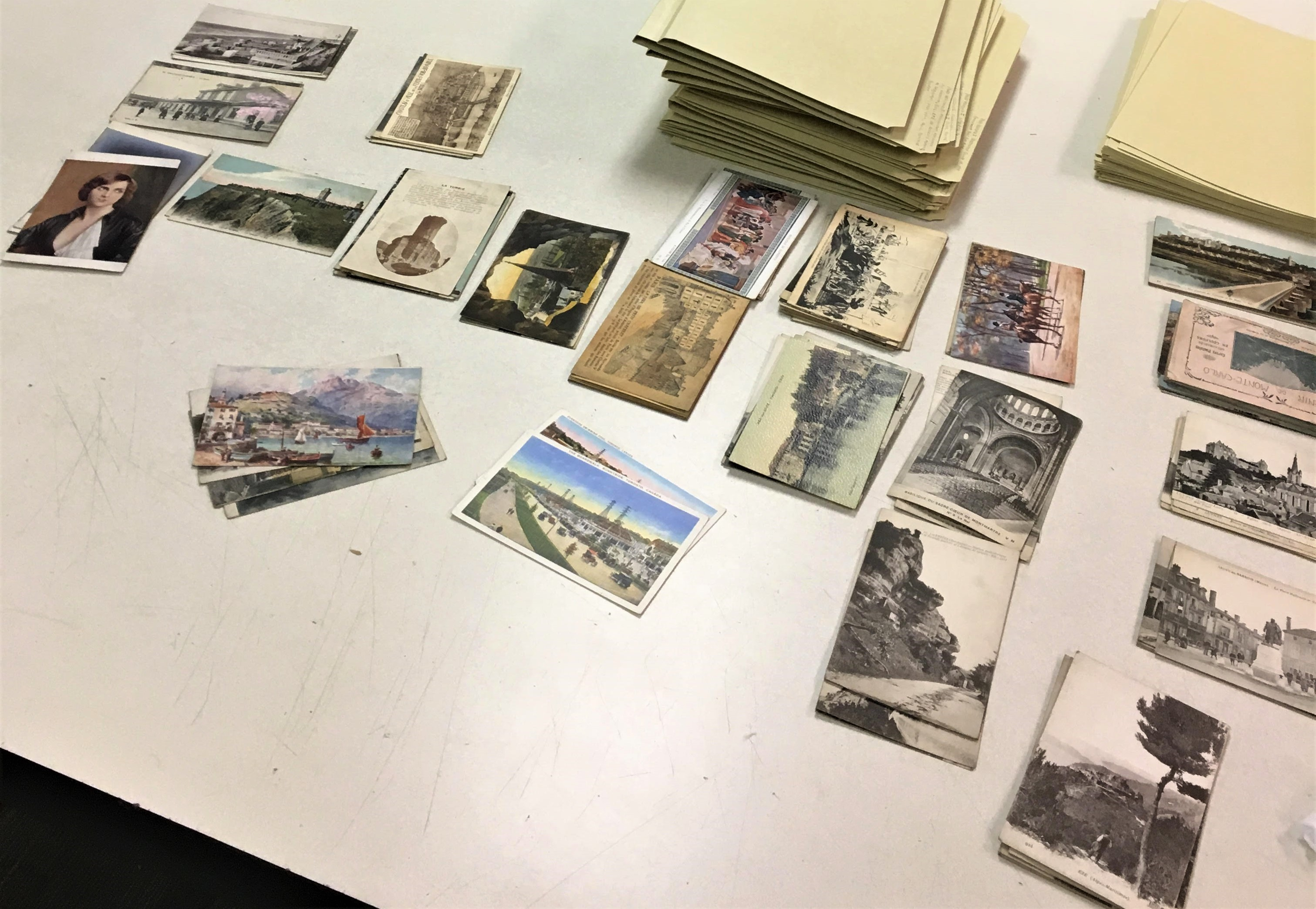 World War I era postcards are organized into geographical groupings.