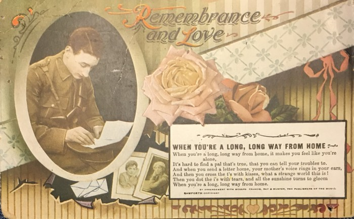 [Postcard front] Remembrance and Love, when you're a long way from home