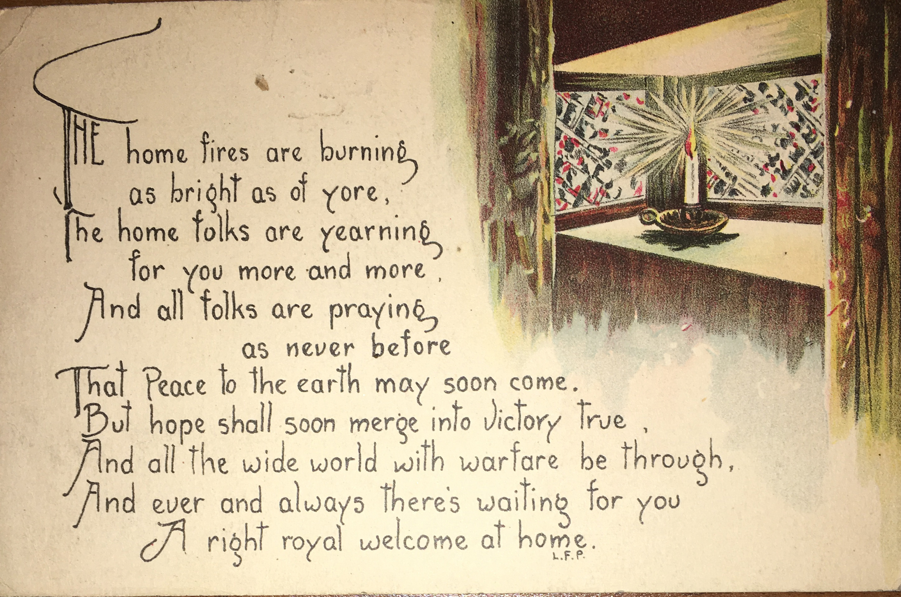 [Postcard front] The home fires are burning
