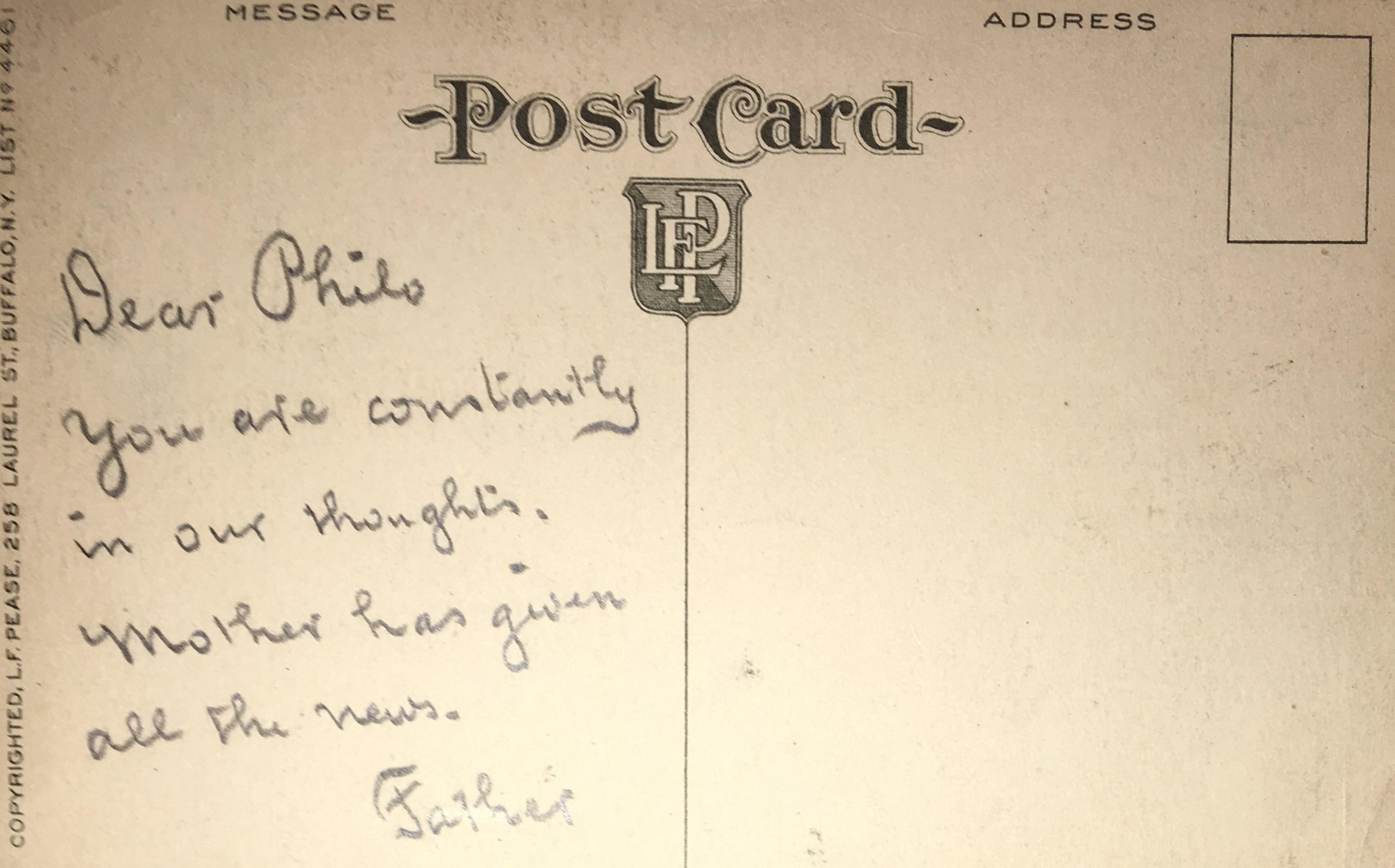 [Postcard rear] Dear Philo