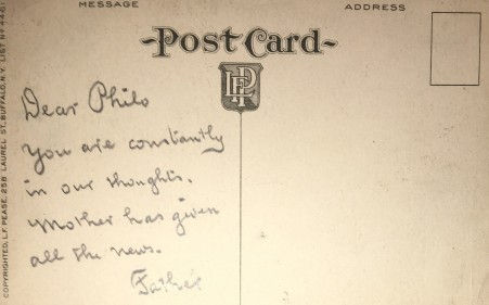 [Postcard rear] Dear Philo
