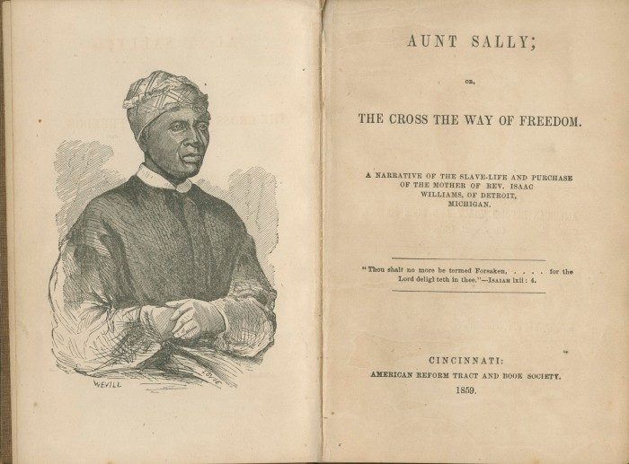 "Title page of ""Aunt Sally; or, the Cross the Way of Freedom."" (1859)"