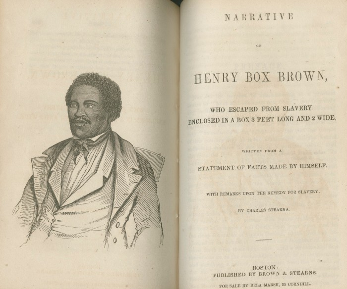 "Title page of ""Henry Box Brown who escaped from slavery enclosed in a box 3 feet long and 2 wide"" (1849)."