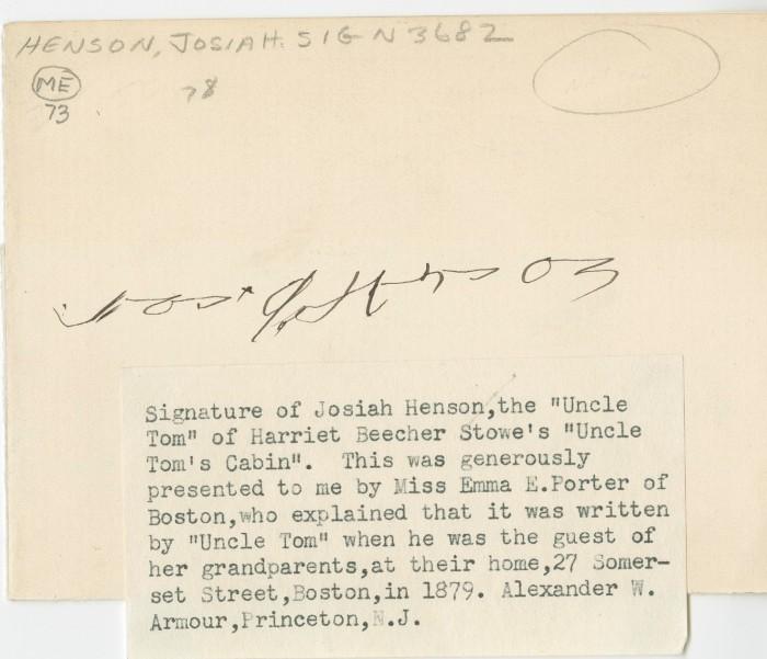 Josiah Henson's signature.