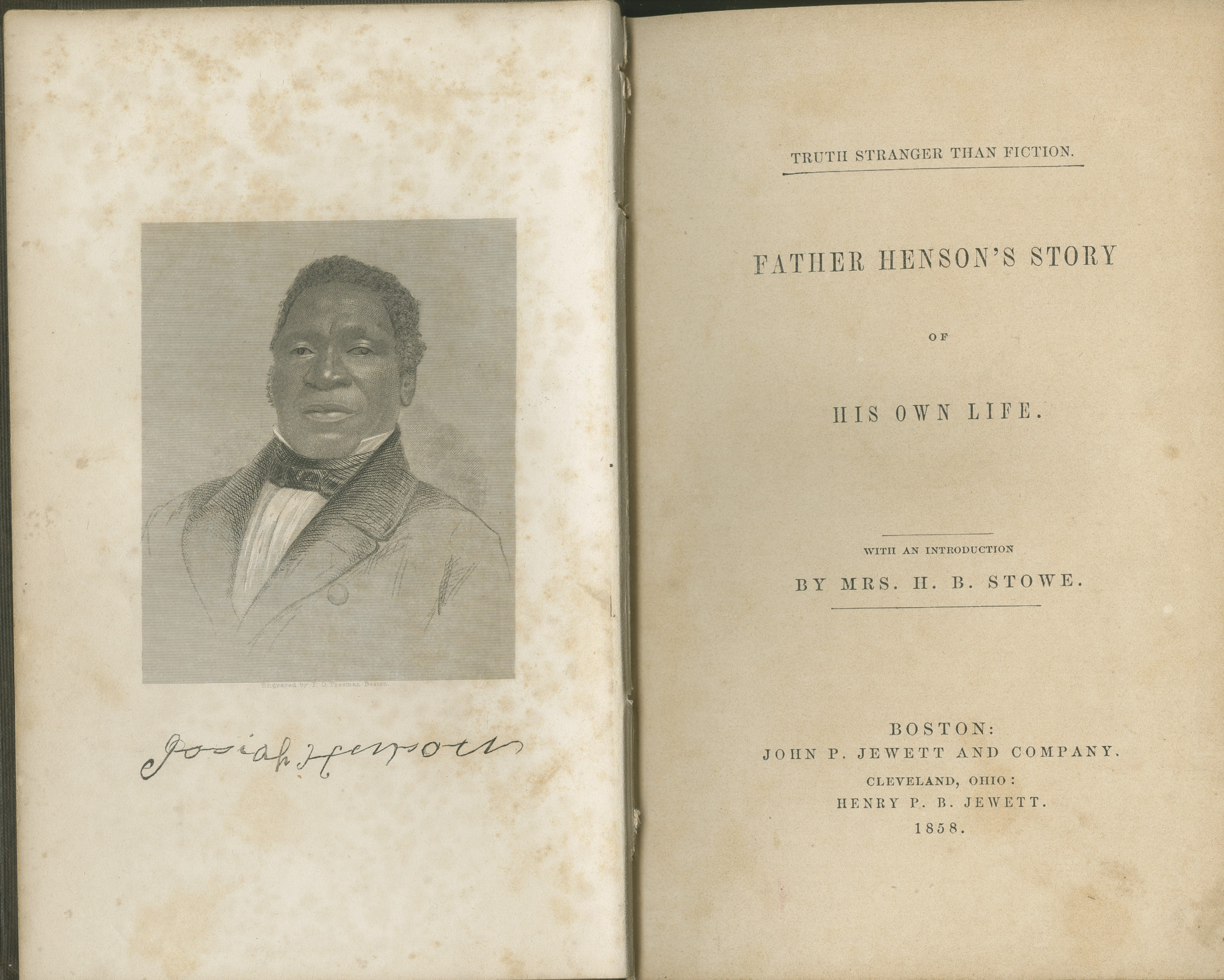 "Title page of ""Father Henson's Story"" (1858)."