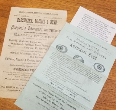 Two advertising circulars from circa 1900. One advertises artificial eyes, the other advertises surgical and veterinary instruments