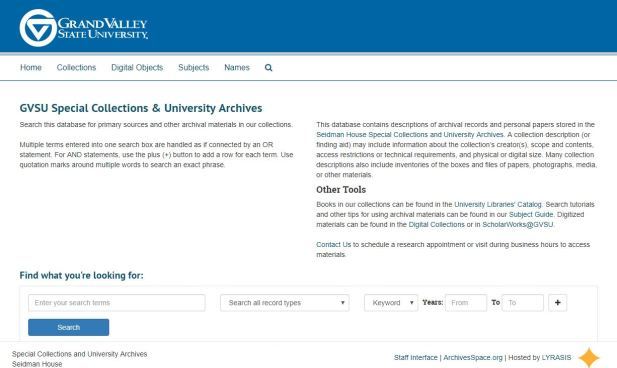 A screenshot of the GVSU Special Collections & University Archives finding aid database, ArchivesSpace
